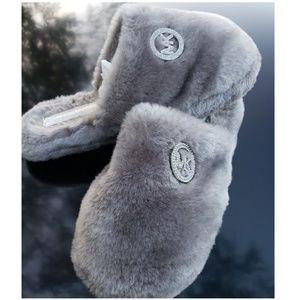 Michael Kors Furry Soft Grey slide On Slippers